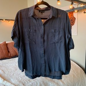 Topshop oversized short sleeve button up blouse